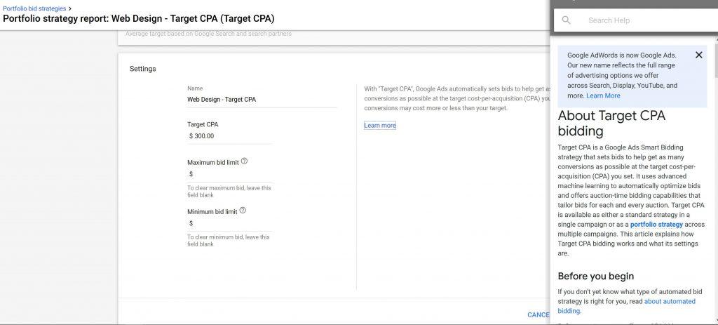 google ads target cpa bid strategy