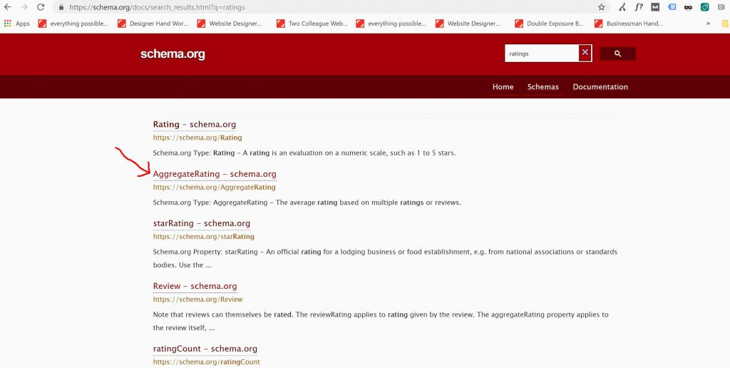 List of schemas listed on schema.org