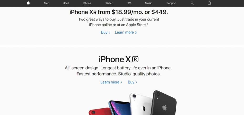 A screenshot of Apple's homepage.