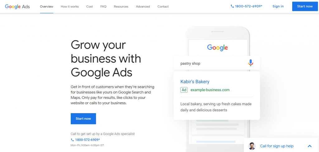 Snapshot of Google Ads Homepage