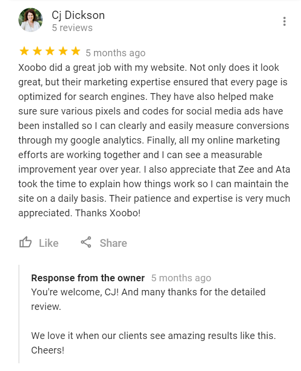 Google Review for Xoobo