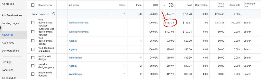 A snapshot of a Google Ads search query report.