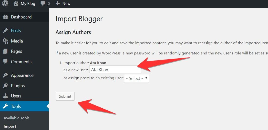 Assign Author from Blogger