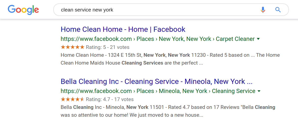 Google Result for a Business