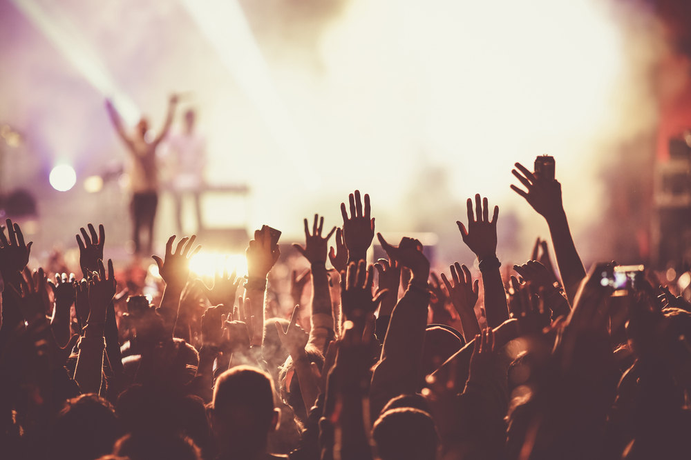 A concert with audience raising their hands in the air.