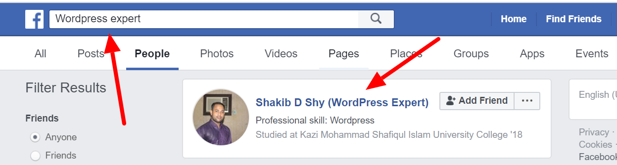 Using Keyword in the Facebook Profile Nickname