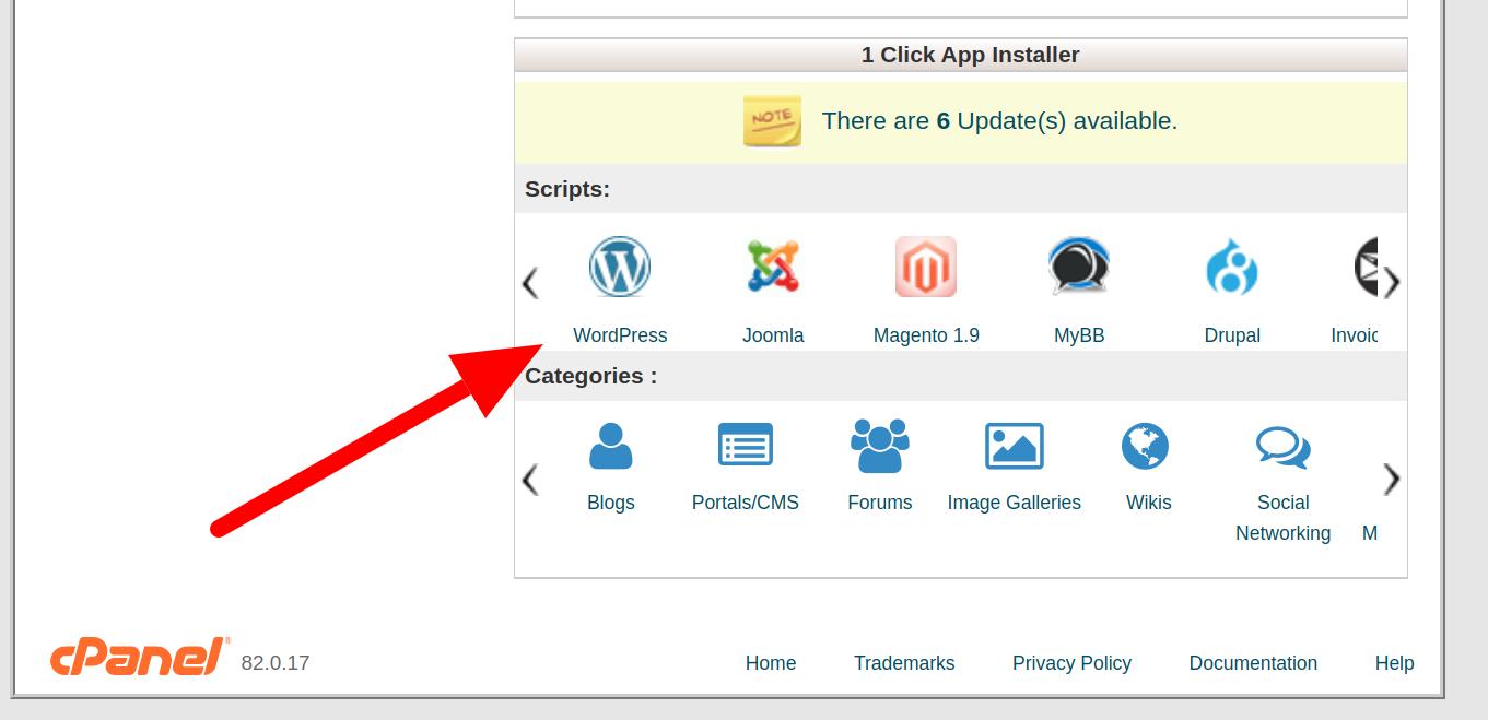 Wordpress in cPanel