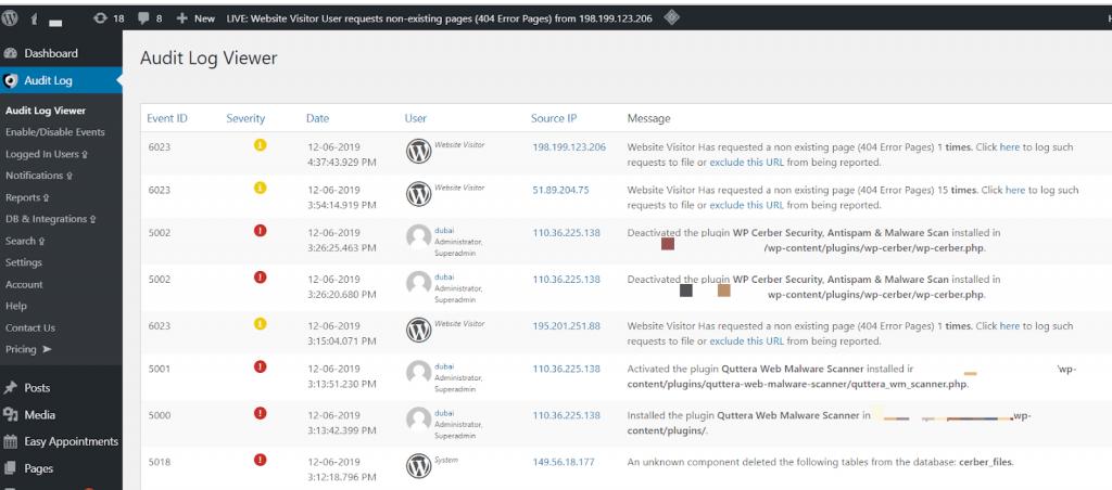 Audit Log WordPress