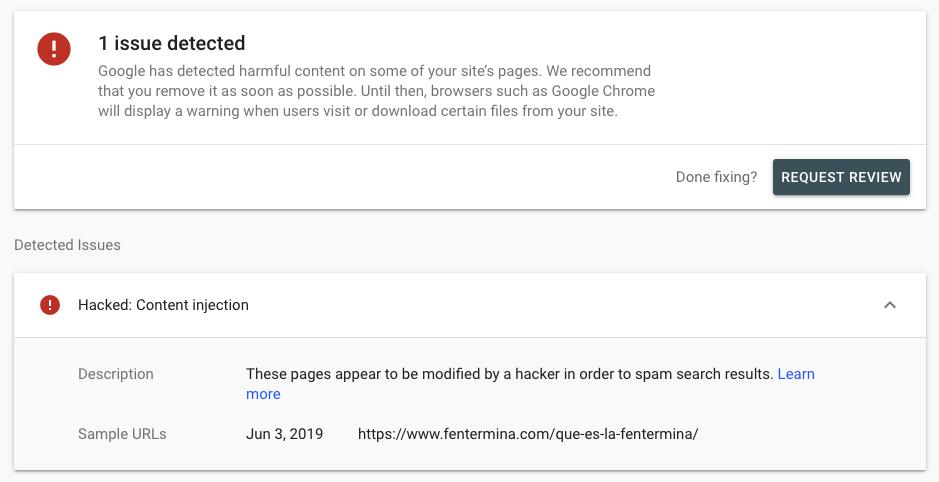 Google Console Website Hacked Alert
