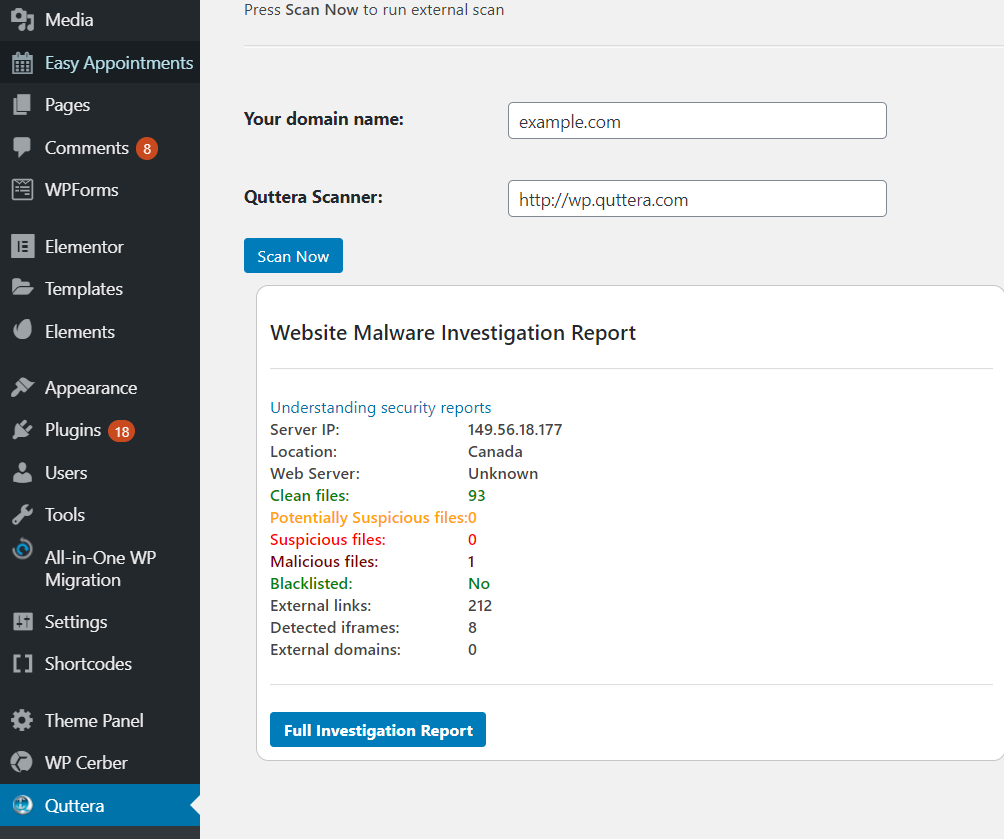 Quttera Web Malware Scanner Report for Malicious Files