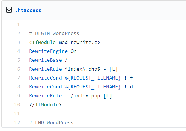 Reinstall htaccess File