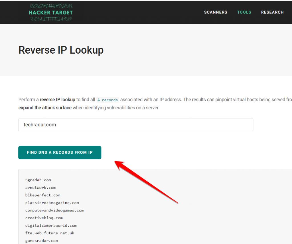 Reverse IP Lookup Tool