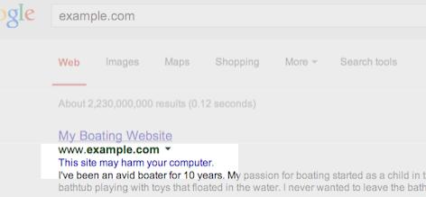Website Hacked Google Result Warning